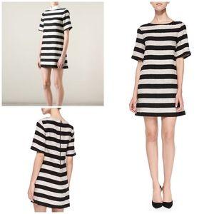 Alice + Olivia Black Mandy Striped Shift Dress